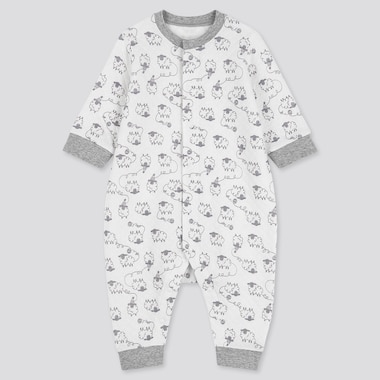 BABIES NEWBORN QUILTED SHEEP PRINT LONG SLEEVED ONE PIECE OUTFIT