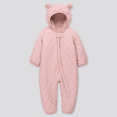 Newborn Warm Padded Long-Sleeve One Piece Outfit, Pink, Medium