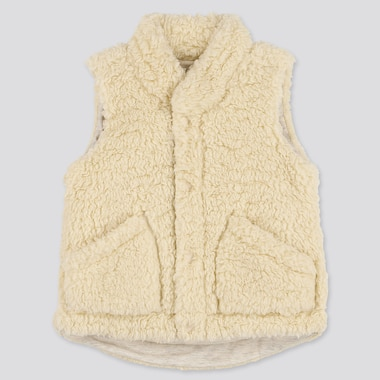 TODDLER FLUFFY YARN FLEECE VEST, OFF WHITE, medium