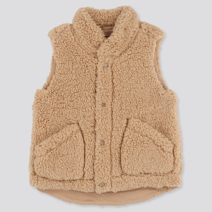 TODDLER FLUFFY YARN FLEECE VEST, BEIGE, large