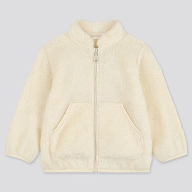 TODDLER FLUFFY YARN FLEECE LONG-SLEEVE JACKET, OFF WHITE, medium