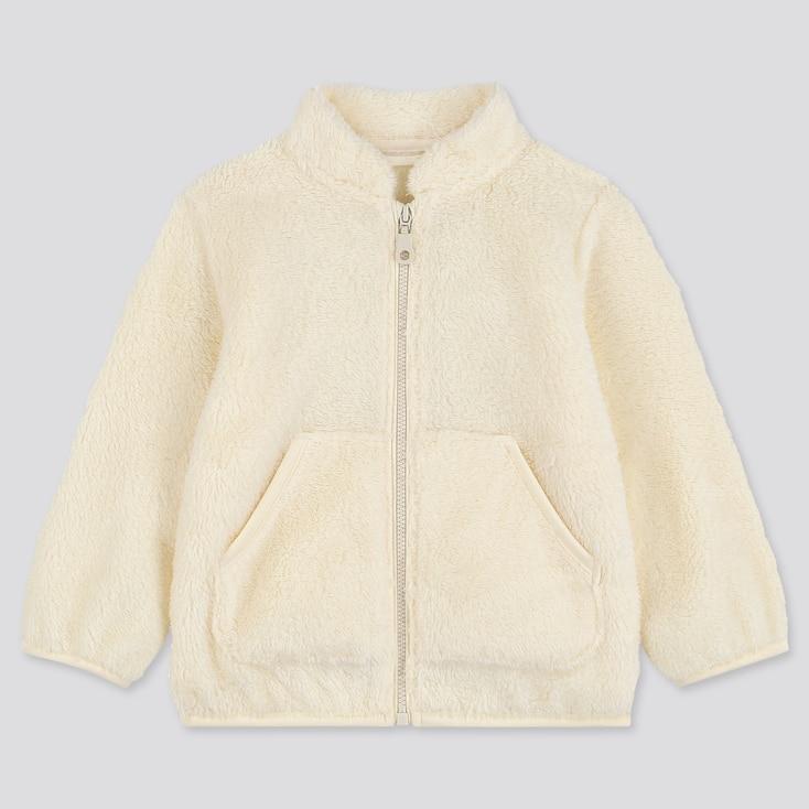 Toddler Fluffy Yarn Fleece Long-Sleeve Jacket, Off White, Large