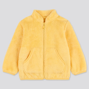 TODDLER FLUFFY YARN FLEECE LONG-SLEEVE JACKET, YELLOW, medium
