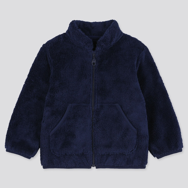TODDLER FLUFFY YARN FLEECE LONG-SLEEVE JACKET, NAVY, large
