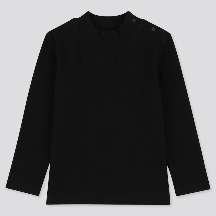 TODDLER RIBBED HIGH-NECK LONG-SLEEVE T-SHIRT, BLACK, large