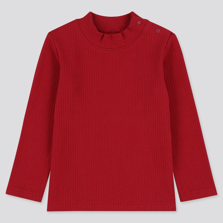 TODDLER RIBBED HIGH-NECK LONG-SLEEVE T-SHIRT, RED, large