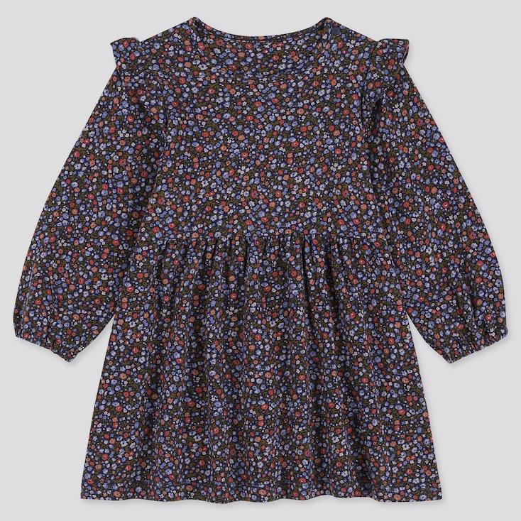 TODDLER LONG-SLEEVE PRINT DRESS, NAVY, large