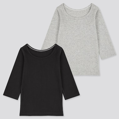 TODDLER COTTON INNER LONG-SLEEVE T-SHIRT (SET OF 2) (ONLINE EXCLUSIVE), BLACK, medium