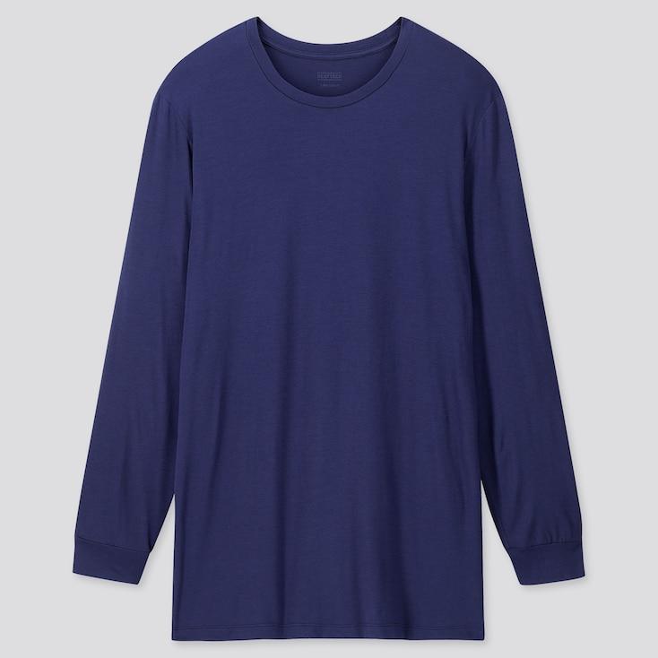 Men Heattech Crew Neck Long-Sleeve T-Shirt, Blue, Large