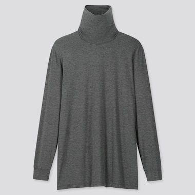Men Heattech Turtleneck Long-Sleeve T-Shirt, Dark Gray, Medium