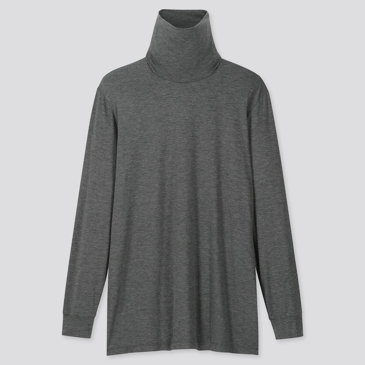 Men Heattech Turtleneck Long-Sleeve T-Shirt, Dark Gray, Large