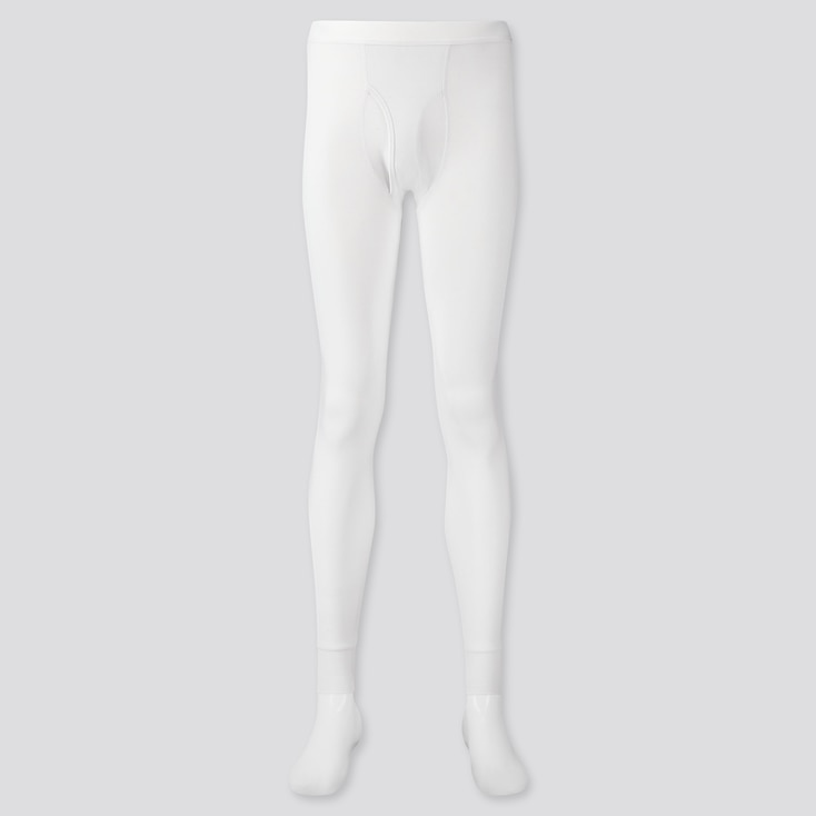Men Heattech Long Johns, White, Large
