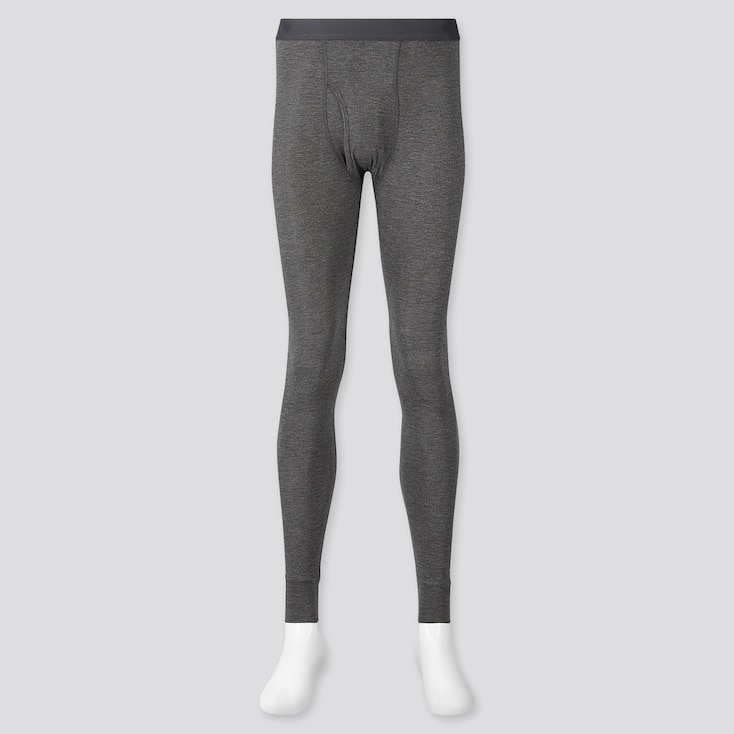 Men Heattech Long Johns, Dark Gray, Large