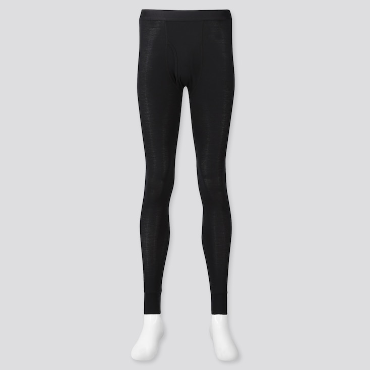 Men Heattech Long Johns, Black, Large