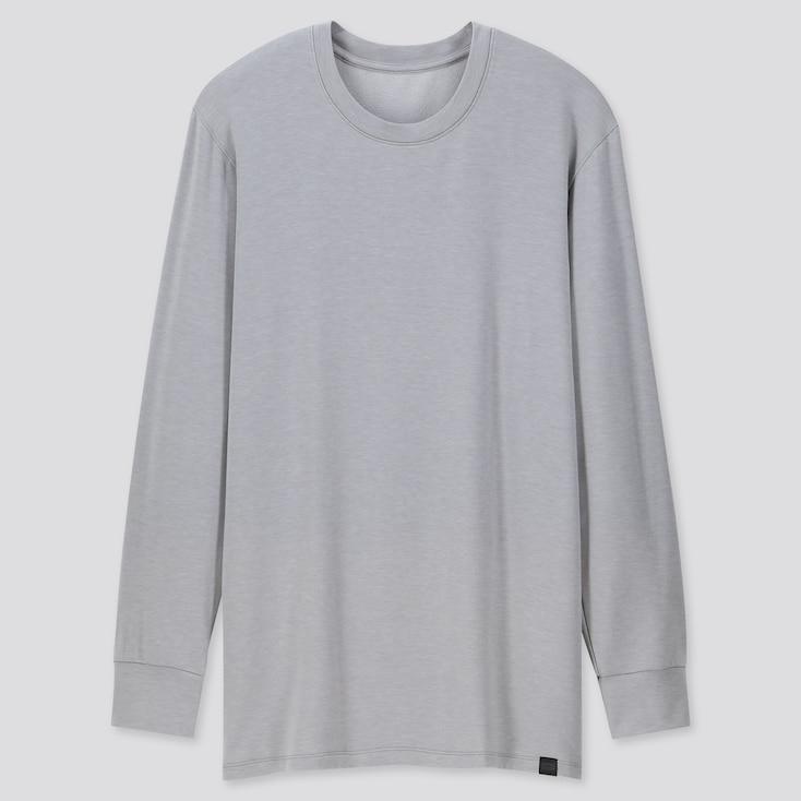 Men Heattech Extra Warm Crew Neck Long-Sleeve T-Shirt, Light Gray, Large