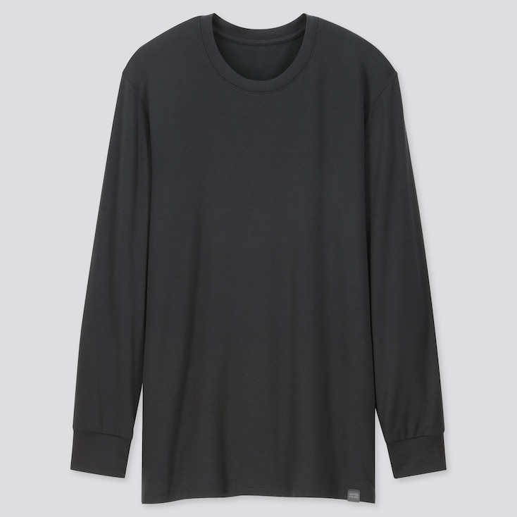 Men Heattech Extra Warm Crew Neck Long-Sleeve T-Shirt, Black, Large