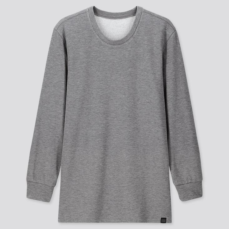Men Heattech Ultra Warm Crew Neck Long-Sleeve T-Shirt, Gray, Large