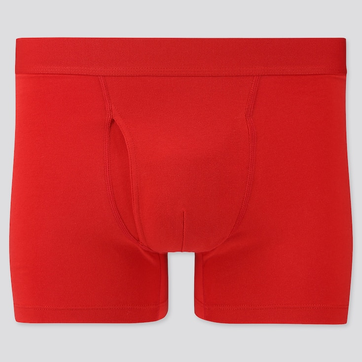 Men Supima© Cotton Boxer Briefs, Red, Large