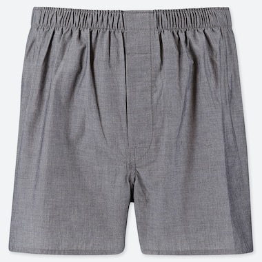 MEN WOVEN BROAD BOXERS, GRAY, medium
