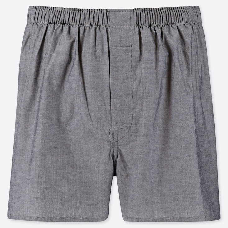 Men Woven Broad Boxers, Gray, Large
