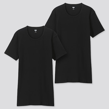 MEN SUPIMA® COTTON CREW NECK SHORT-SLEEVE T-SHIRT (SET OF 2), BLACK, medium