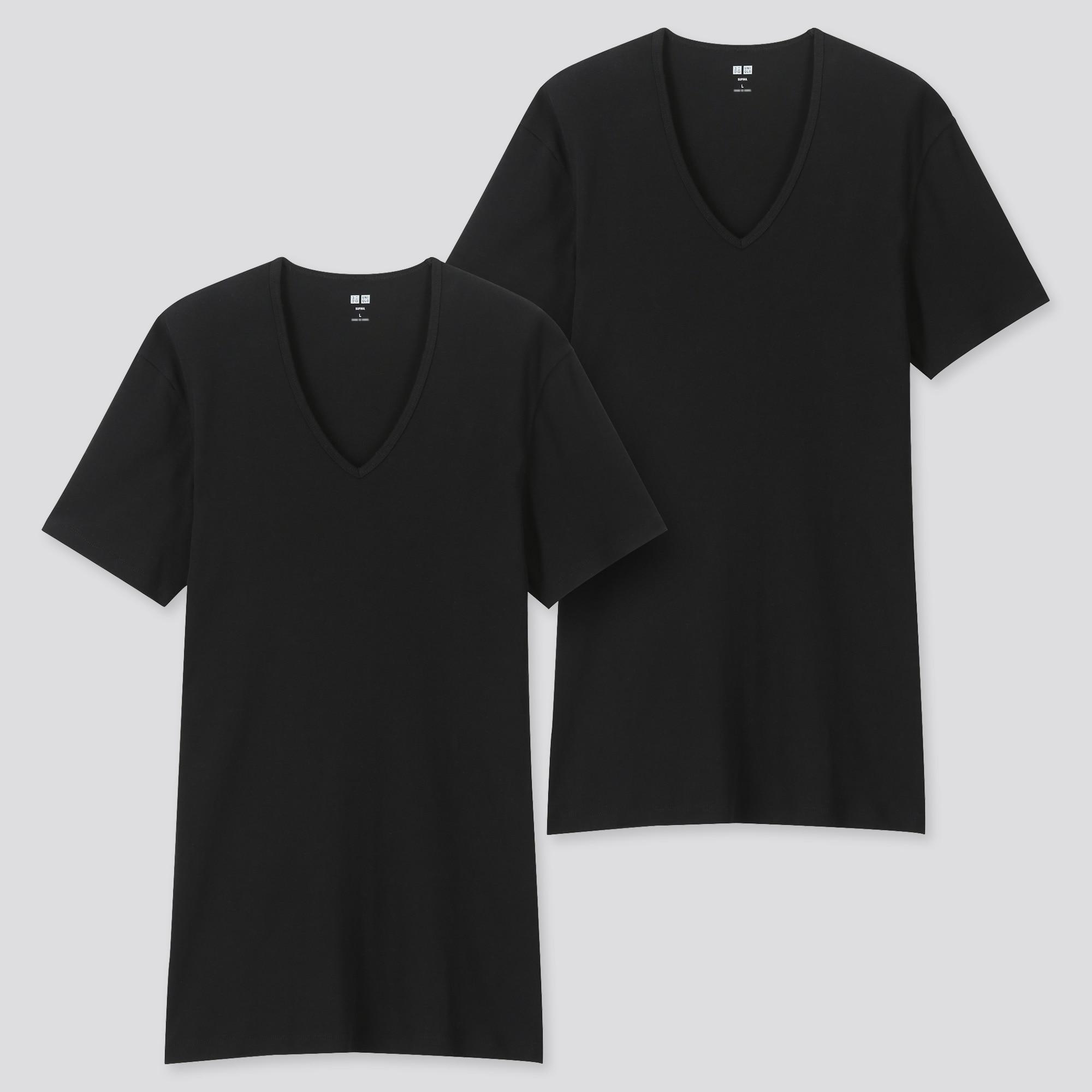 uniqlo men supima® cotton v-neck short-sleeve t-shirt (set of 2)