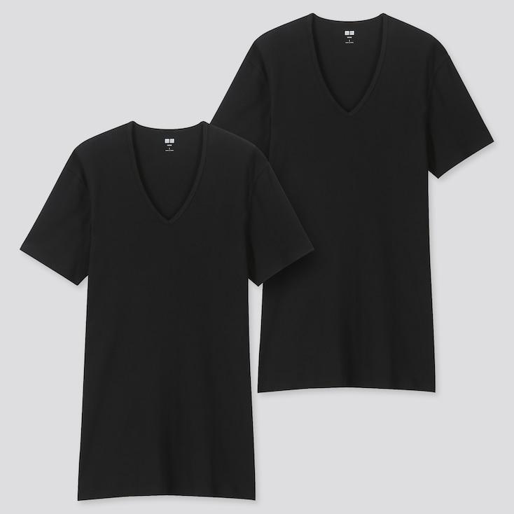 Men Supima© Cotton V-Neck Short-Sleeve T-Shirt (Set Of 2), Black, Large