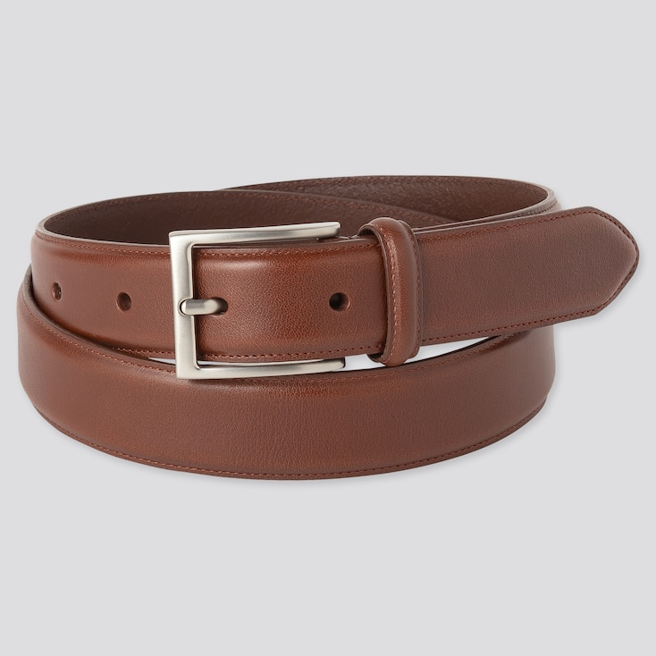 MEN ITALIAN STITCHED LEATHER BELT, BROWN, large