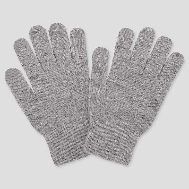 HEATTECH KNITTED GLOVES, GRAY, large