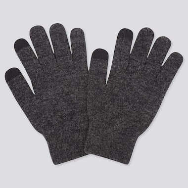 Heattech Knitted Gloves, Dark Gray, Medium