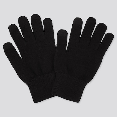 Heattech Knitted Gloves, Black, Medium