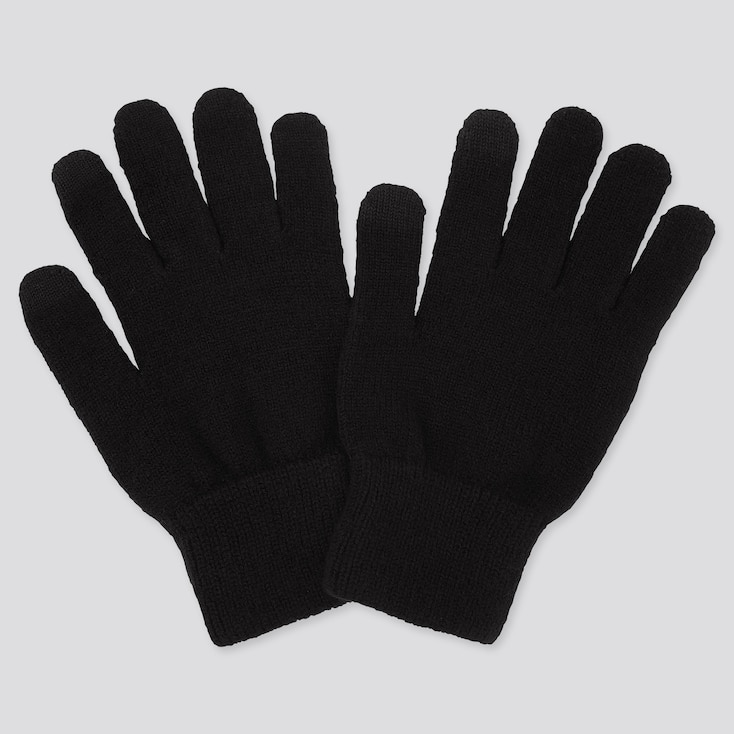 HEATTECH KNITTED GLOVES, BLACK, large