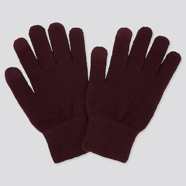 HEATTECH KNITTED GLOVES, WINE, medium
