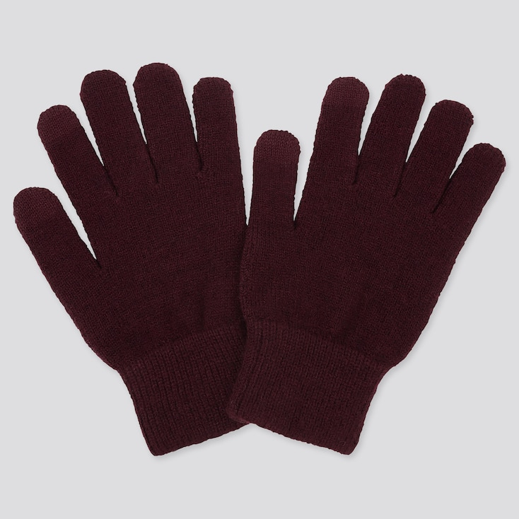 HEATTECH KNITTED GLOVES, WINE, large