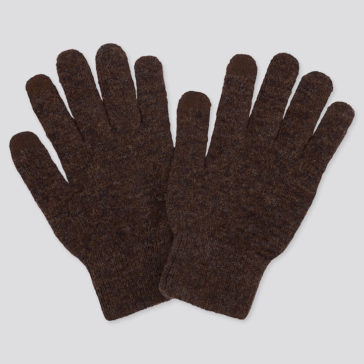 Heattech Knitted Gloves, Brown, Large