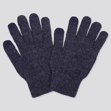 HEATTECH KNITTED GLOVES, BLUE, medium