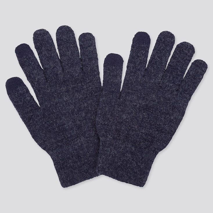 HEATTECH KNITTED GLOVES, BLUE, large