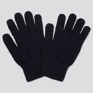 HEATTECH KNITTED GLOVES, NAVY, medium