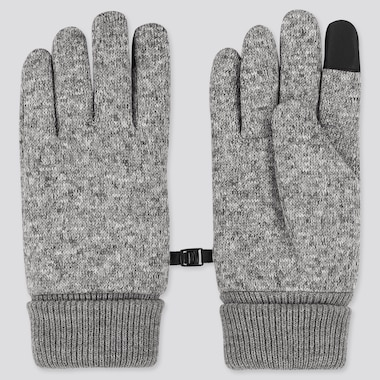 HEATTECH-LINED KNITTED FLEECE GLOVES, GRAY, medium