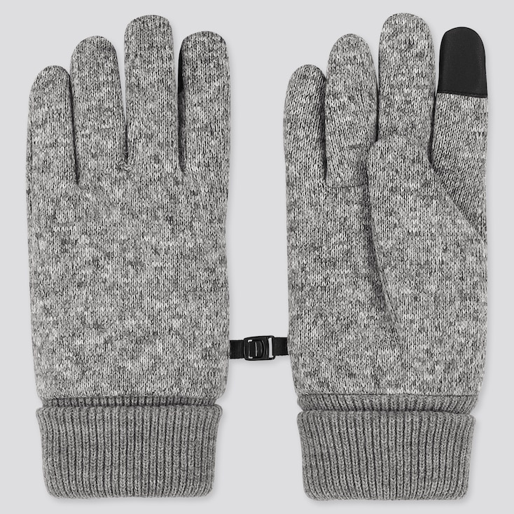 HEATTECH-LINED KNITTED FLEECE GLOVES, GRAY, large