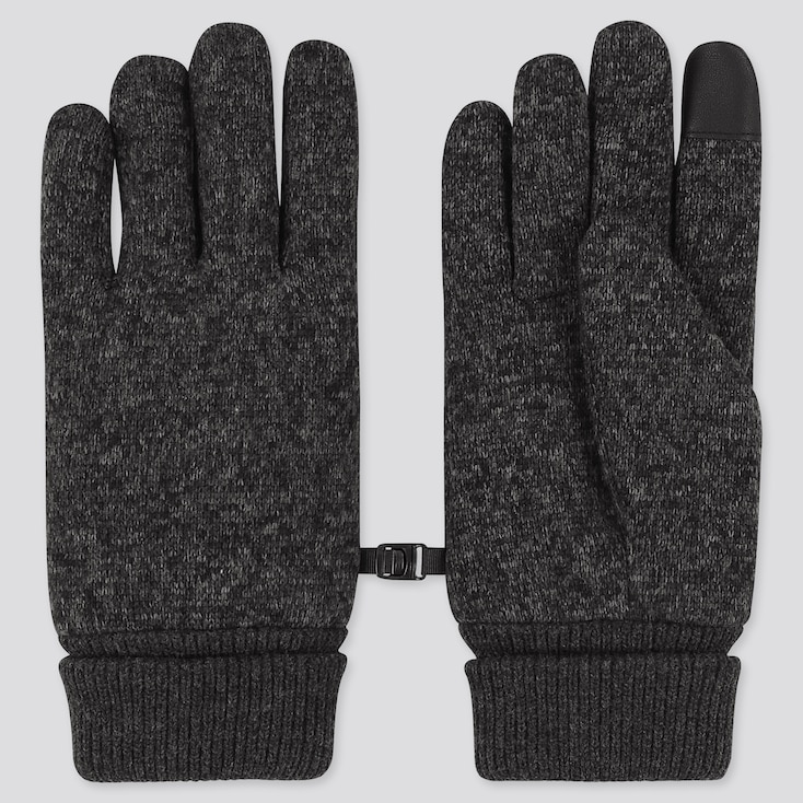 HEATTECH-LINED KNITTED FLEECE GLOVES, DARK GRAY, large