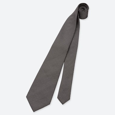 MEN SILK TIE, DARK GRAY, medium