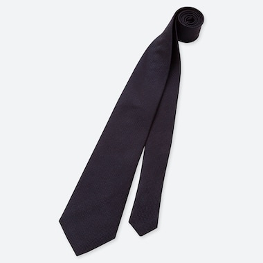 Men Silk Tie, Navy, Medium