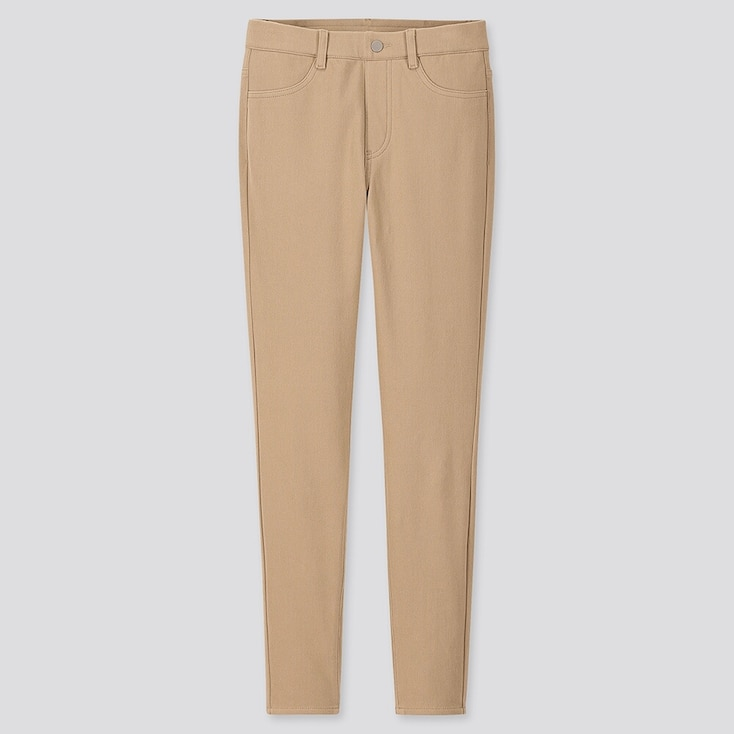 Women Heattech Ultra Stretch Leggings Pants, Beige, Large