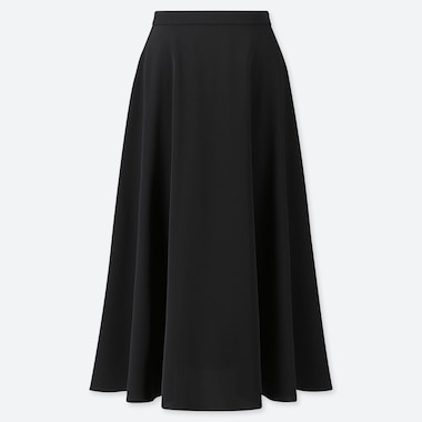 WOMEN DRAPE CIRCULAR SKIRT, BLACK, medium