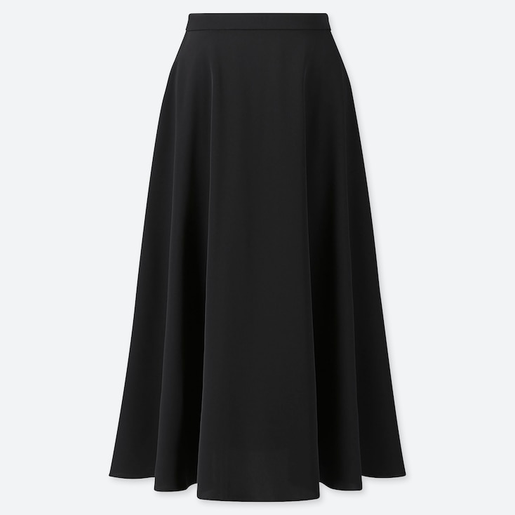 WOMEN DRAPE CIRCULAR SKIRT, BLACK, large