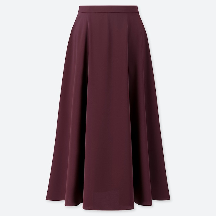 WOMEN DRAPE CIRCULAR SKIRT, WINE, large