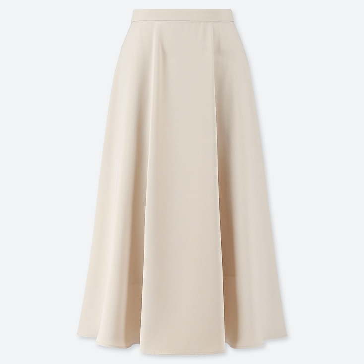 WOMEN DRAPE CIRCULAR SKIRT, NATURAL, large