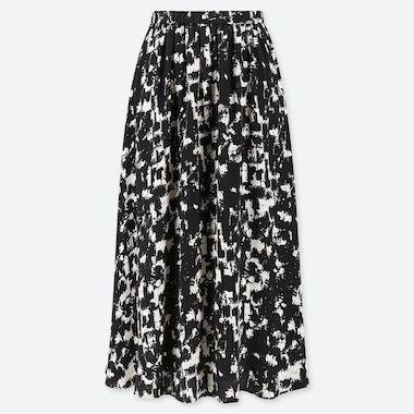 WOMEN PRINTED FLARE SKIRT, WHITE, medium