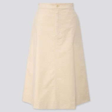 WOMEN CORDUROY MIDI SKIRT, OFF WHITE, medium